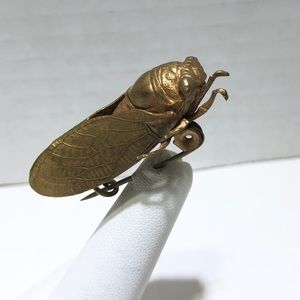 Early Egyptian revival handmade cicada bug pin